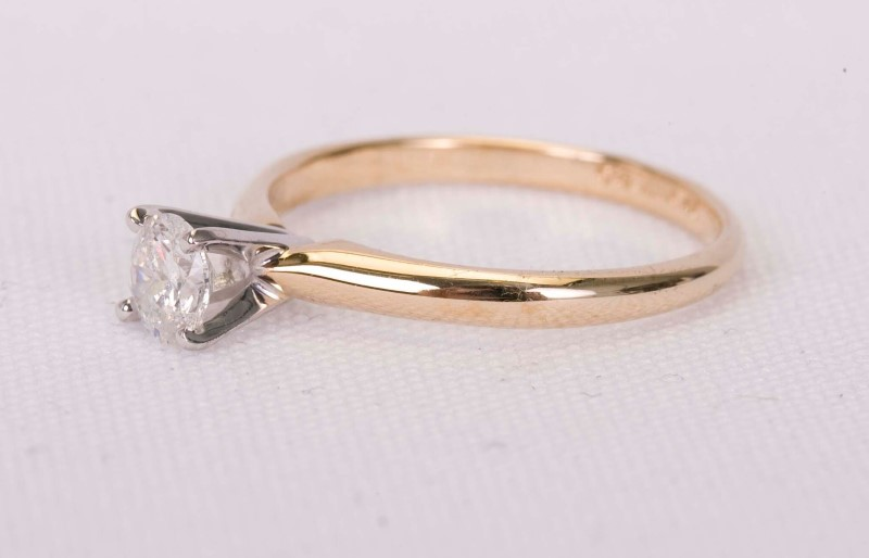 Lady's Diamond Solitaire Ring .46 CT. 14K Yellow Gold 2.2g