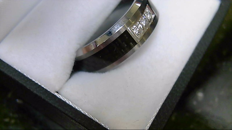 Gent's Black & Carbon Tungsten 3 Diamond Wedding Band Sz 9.5