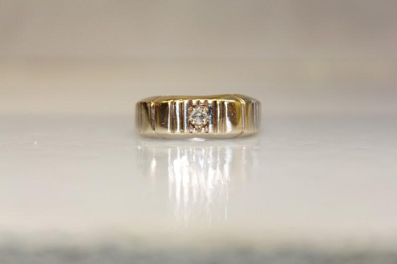 10K YG APX.09CT DIAMOND RING SZ.12.5 4.8MM