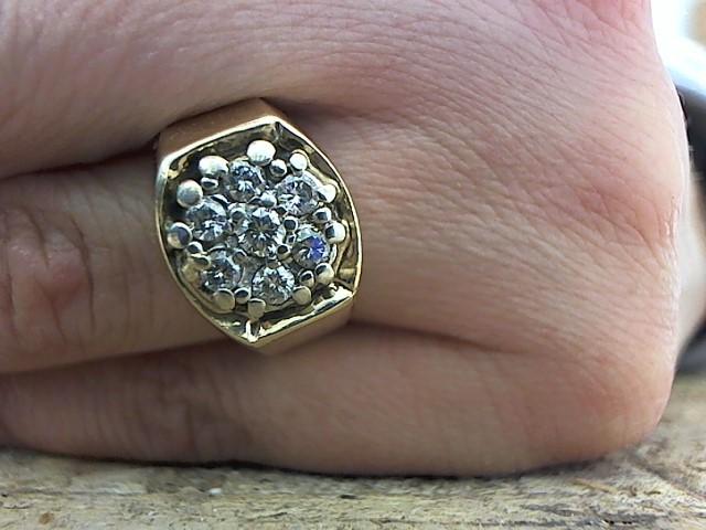 Gent's Diamond Cluster Ring 7 Diamonds .58 Carat T.W. 14K Yellow Gold 9.8g