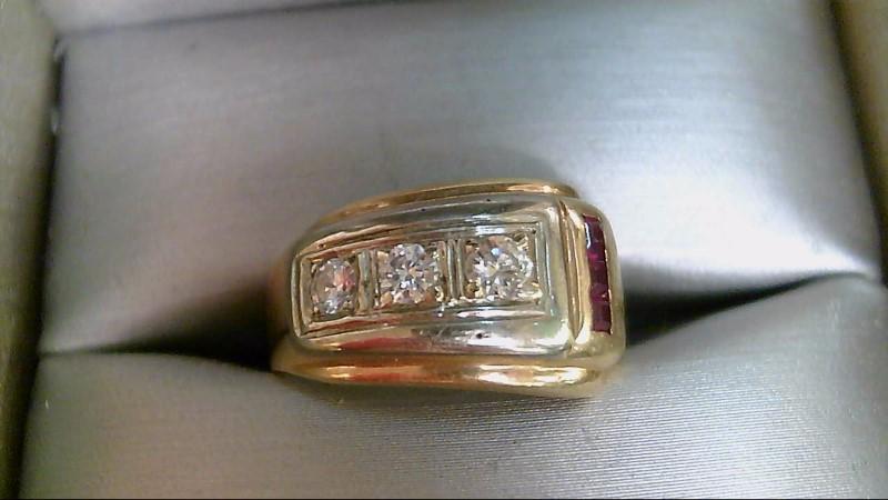 Synthetic Cubic Zirconia Lady's Stone & Diamond Ring 2 Diamonds .27 Carat T.W.