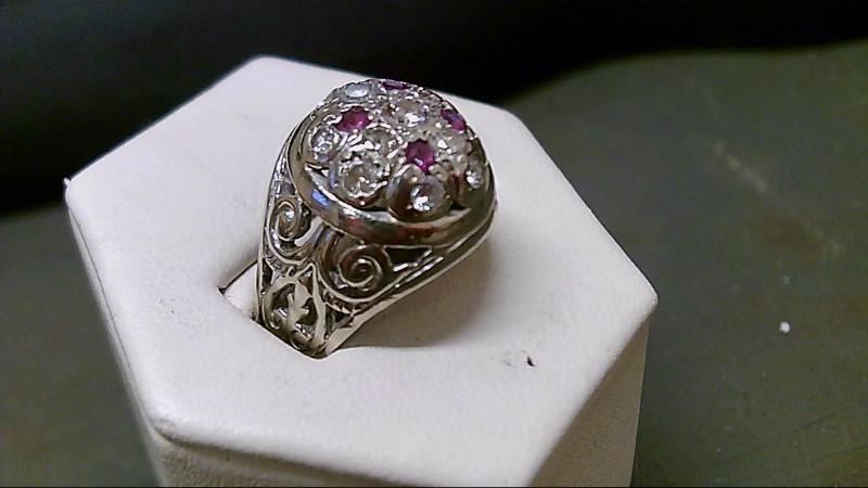 Ruby Gent's Stone & Diamond Ring 13 Diamonds 1.35 Carat T.W. 14K White Gold