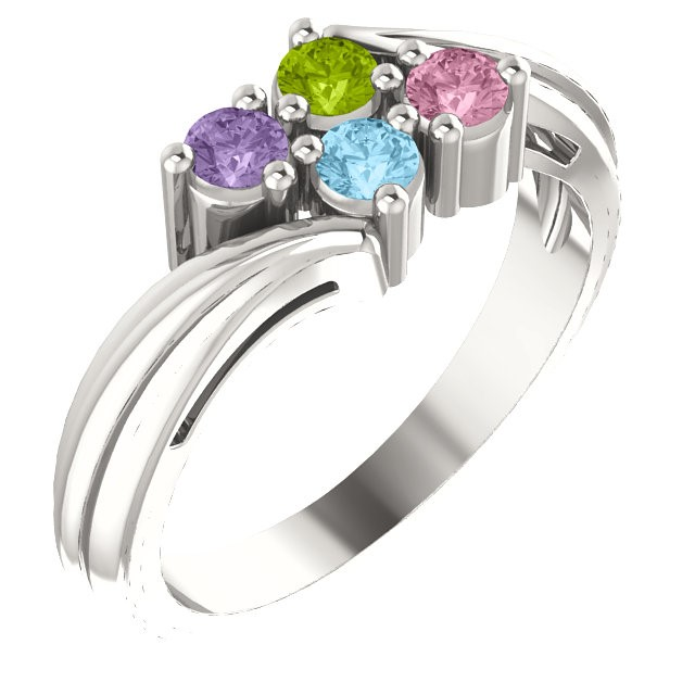 Mother's Day 4 Stone Setting Silver Ring 925 Silver Mom