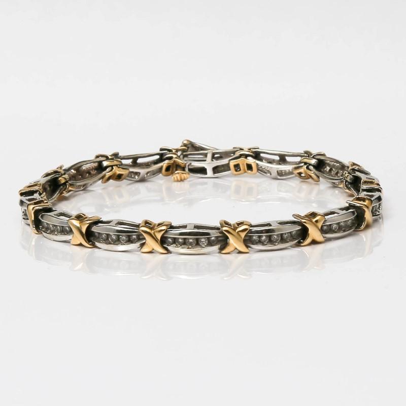 "7"" 10K 2-Tone Gold X's and Channel Set Round Diamond Bracelet"