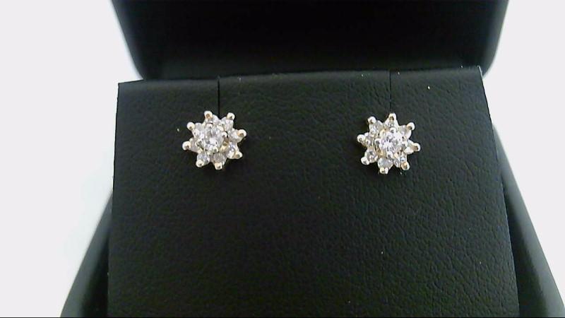 lady's 10k yellow gold 1/4ctw rd diamond earrins