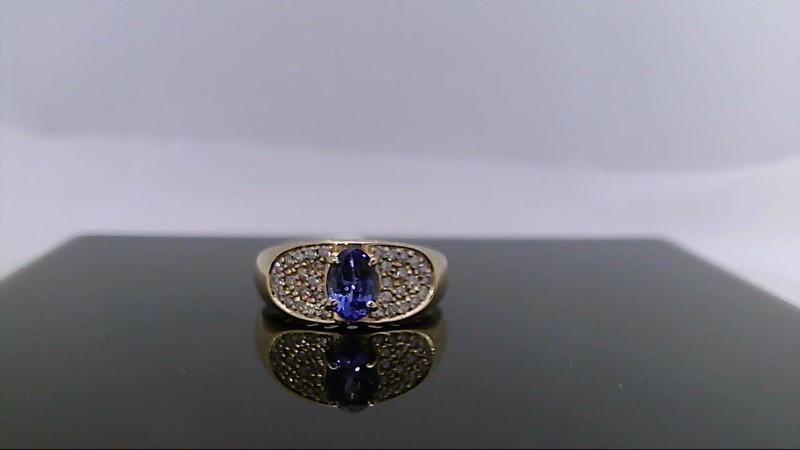 yellow gold tanzanite and diamond ring