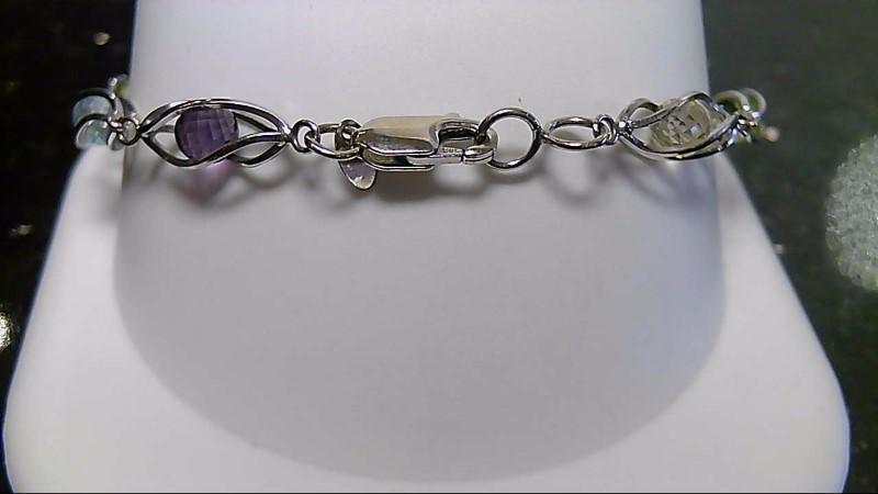 "7"" Multi Crystal 10K White Gold Fashion Bracelet 7.4G"