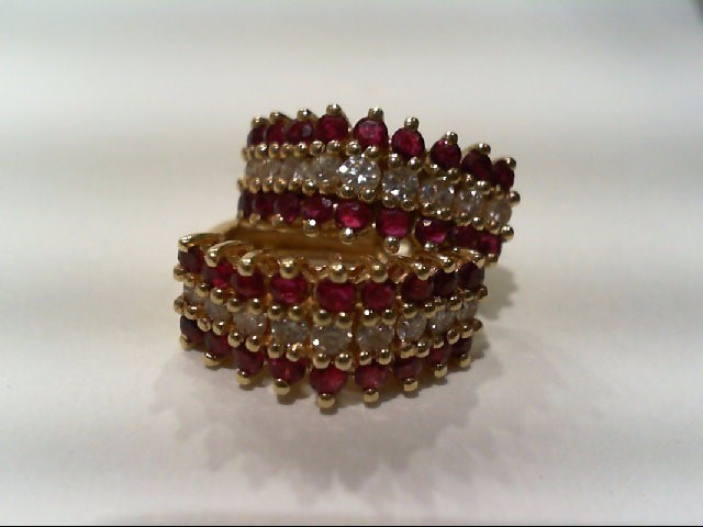 Ruby Gold-Diamond & Stone Earrings 18 Diamonds .66 Carat T.W. 14K Yellow Gold