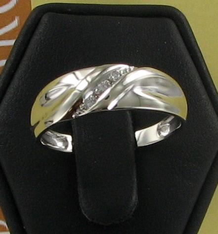 Gent's Gold-Diamond Wedding Band 3 Diamonds .03 Carat T.W. 10K White Gold