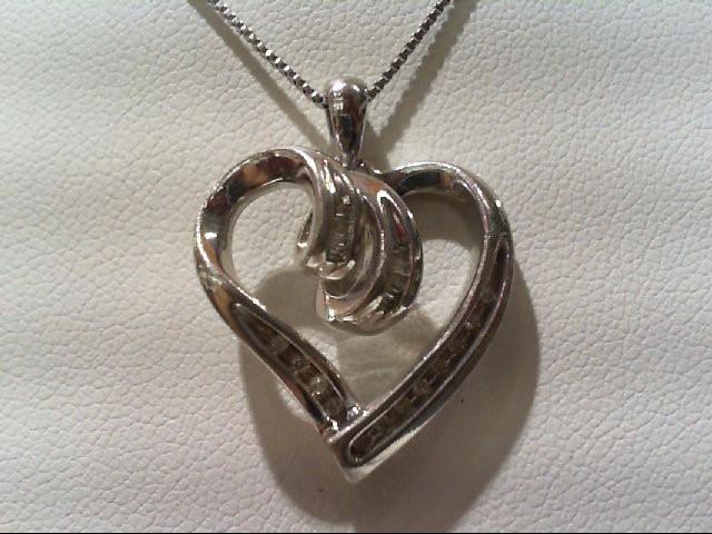 Silver-Diamond Pendant 21 Diamonds .105 Carat T.W. 925 Silver 5.2g