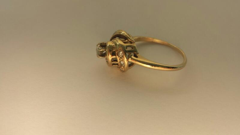 14K-Y/G Lds Diamond Ring 10 diamonds
