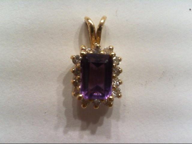 Amethyst Gold-Diamond & Stone Pendant 14 Diamonds .14 Carat T.W.