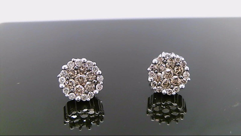 10k white gold chocolate and white diamond earrings