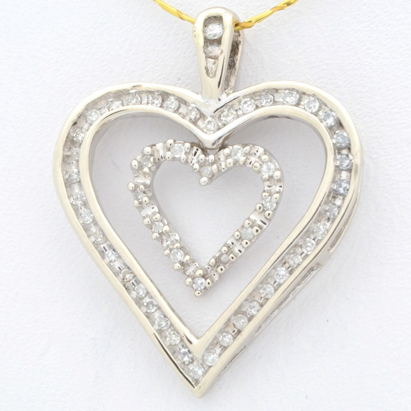 ESTATE DIAMOND DOUBLE HEART PENDANT CHARM SOLID 10K WHITE GOLD LOVE