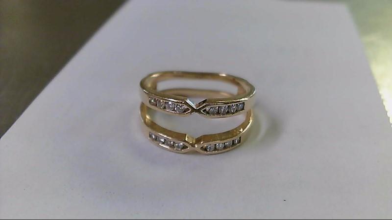Lady's Gold-Diamond Ring Guard 16 Diamonds .32 Carat T.W. 14K Yellow Gold 4.2g