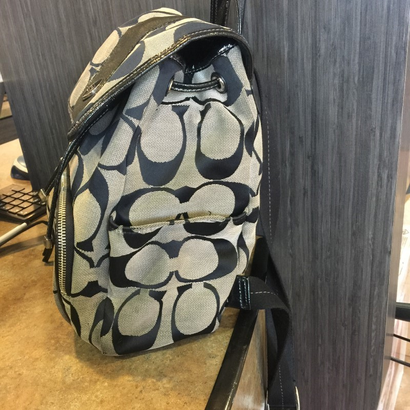 COACH Backpack KHAKI JACQUARD BACKPACK