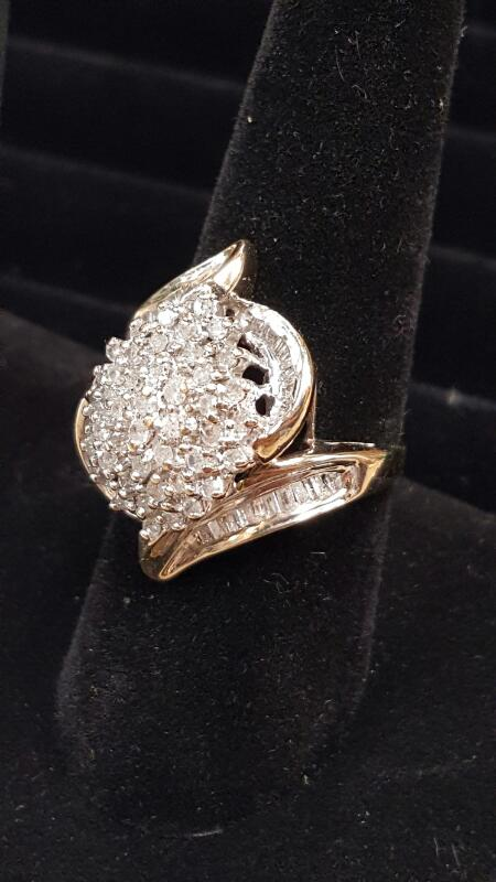 Lady's Diamond Cluster Ring 55 Diamonds 1.35 Carat T.W. 10K Yellow Gold 4.8dwt