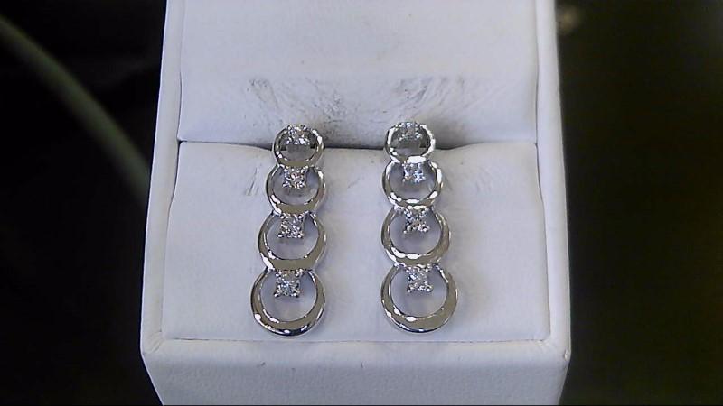 Gold-Diamond Earrings 8 Diamonds .08 Carat T.W. 14K White Gold 3.7g