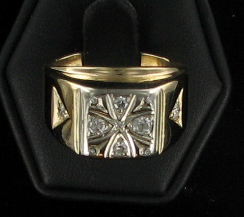 Gent's Diamond Fashion Ring 6 Diamonds .60 Carat T.W. 14K Yellow Gold 6.9dwt