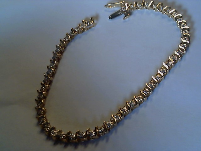 Gold-Diamond Bracelet 48 Diamonds .48 Carat T.W. 10K Yellow Gold 7.1g