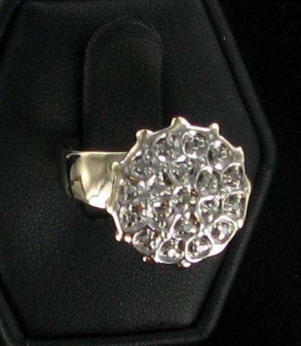 Lady's Diamond Cluster Ring 19 Diamonds .19 Carat T.W. 10K Yellow Gold 3dwt