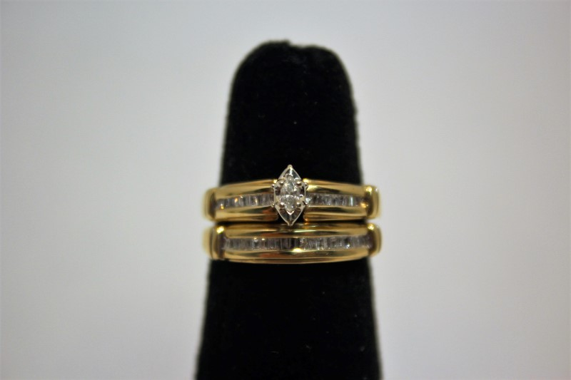 Lady's Diamond Wedding Set 37 Diamonds .44 Carat T.W. 14K Yellow Gold 6.5g