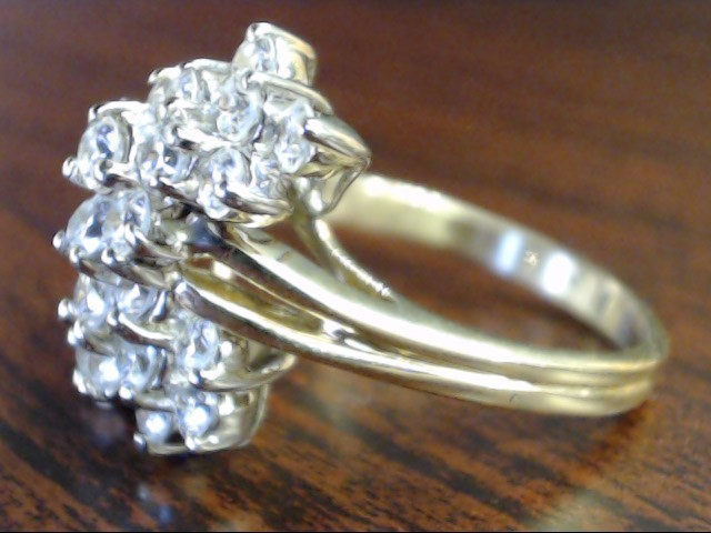ESTATE CZ CLUSTER RING SOLID REAL 14K YELLOW GOLD WATERFALL SZ 9.75