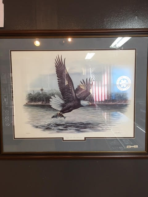 JOHN SHAW 86, LITHOGRAPH EAGLE ON THE POTOMAC HAND SIGNED #292/600