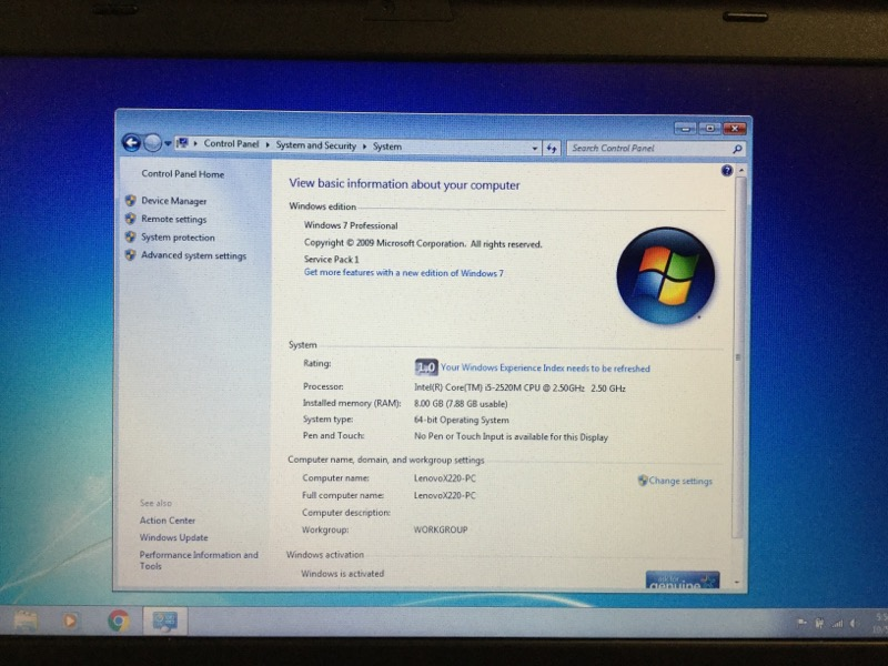 LENOVO THINKPAD X220 i5-2520m 2.50ghz, 8gb Ram, 250gb HDD, Win 7 Pro