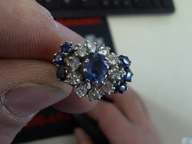 Sapphire Lady's Stone & Diamond Ring 10 Diamonds .60 Carat T.W. 14K White Gold
