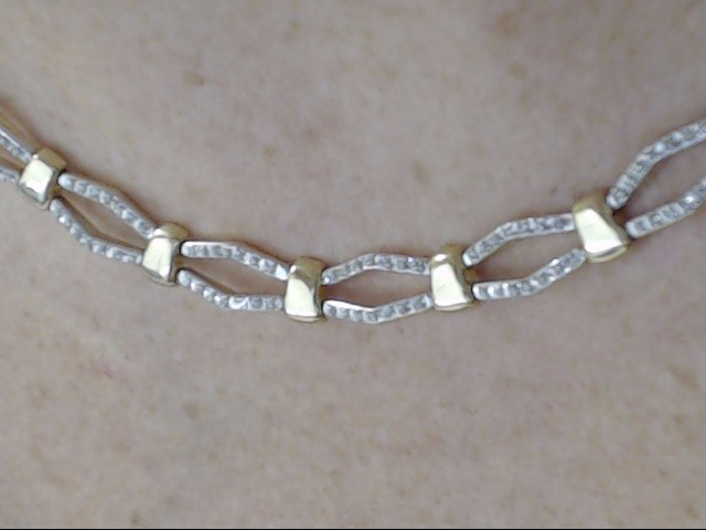 ESTATE DOUBLE CHEVRON OPEN LINK CLUSTER NECKLACE SOLID REAL 14K GOLD