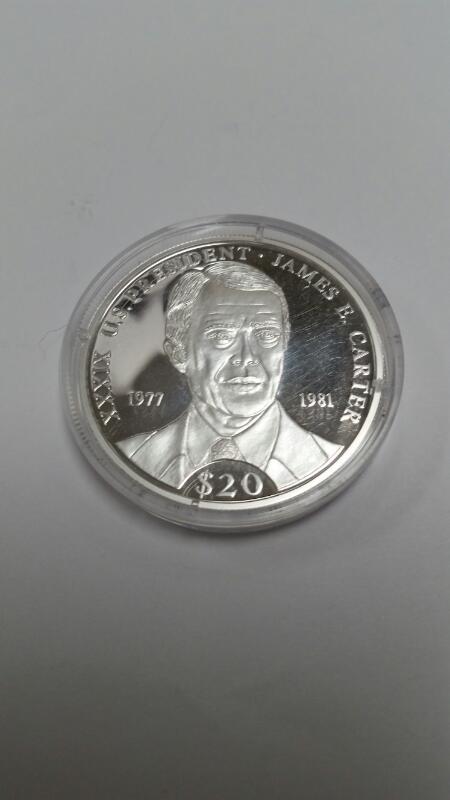 AMERICAN MINT REPUBLIC OF LIBERIA $20.00 SILVER COIN JAMES CARTER