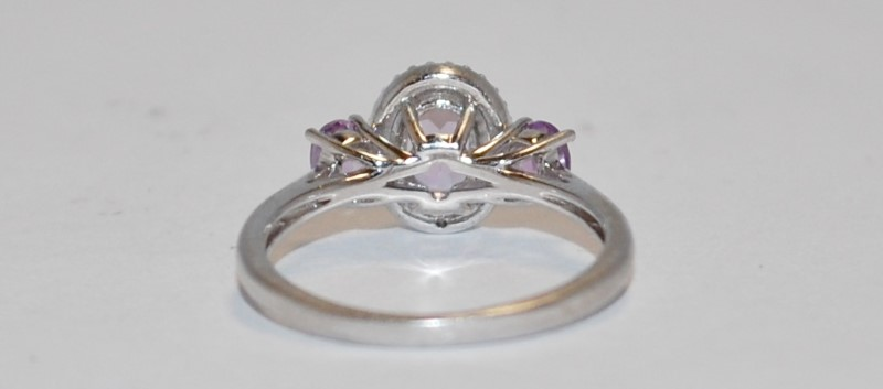 Women's Sterling Silver Three Stone Amethyst Ring Size 6.75