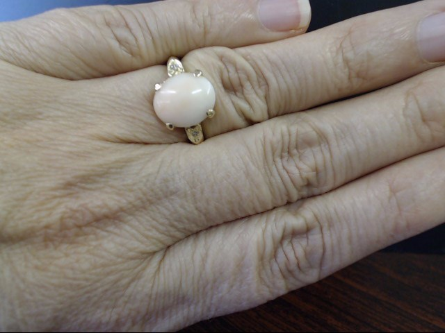 VINTAGE OVAL PINK CORAL DIAMOND RING SOLID REAL 14K GOLD SIZE 6.25