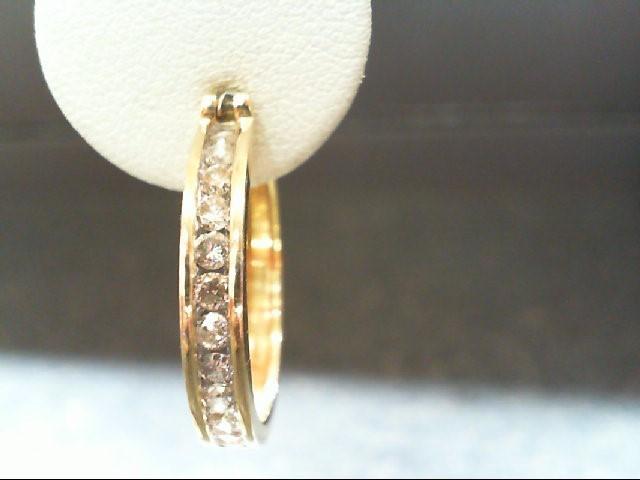 Gold-Diamond Earrings 24 Diamonds 1.0 Carat T.W. 14K Yellow Gold 7.3g