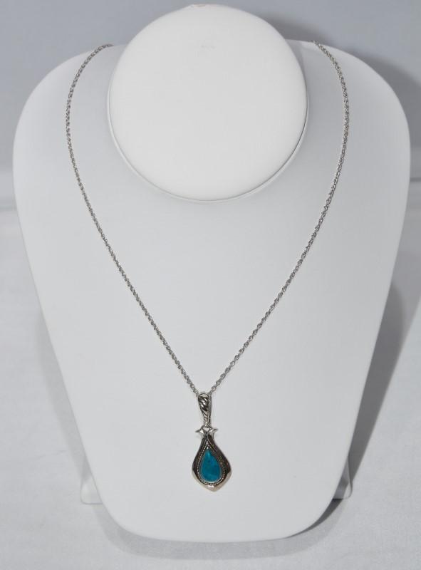 "17"" Bradford Exchange BGE Sterling Silver Turquoise Necklace Enhancer Pendant"