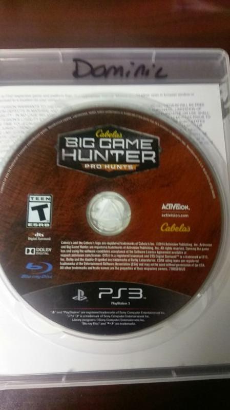 SONY PLAYSTATION 3 CABELA'S BIG GAME HUNTER PRO HUNTS VIDEO GAME