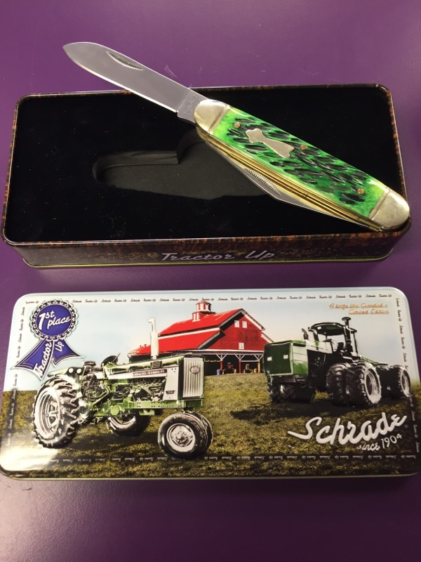 Schrade 1st Place Tractor Up Green Barlow Pocket Knife w/ Tin