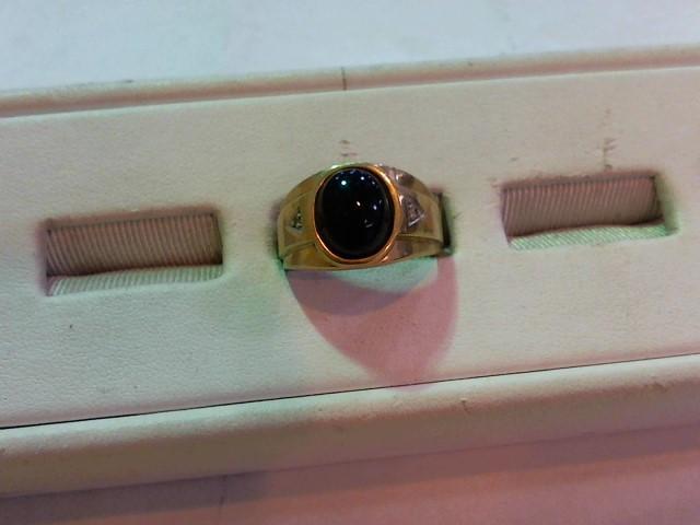 Black Stone Gent's Stone Ring 10K Yellow Gold 4.4g