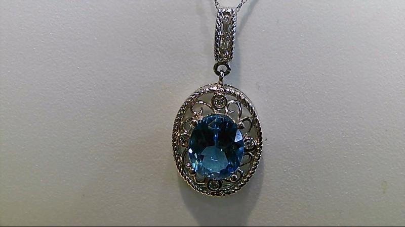 Synthetic Blue Topaz Stone Necklace 14K White Gold 5.1g