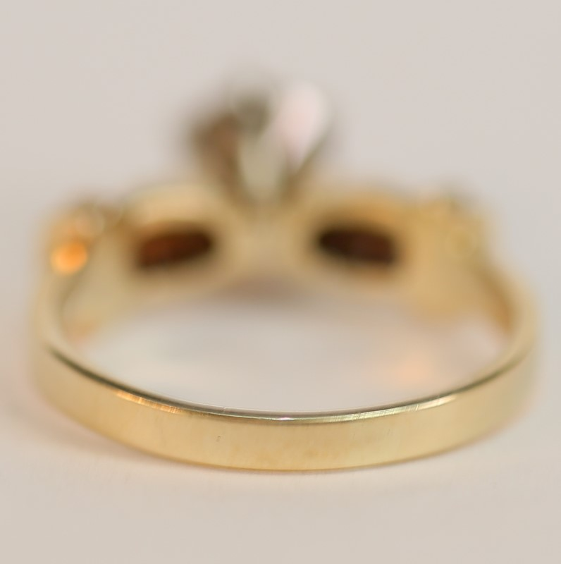 14K Yellow Gold Round Brilliant Diamond Engagement Ring Size 8.5