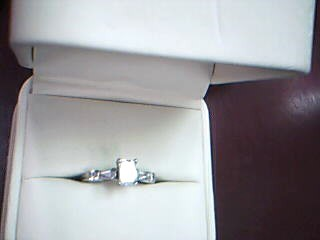 Lady's Diamond Solitaire Ring 5 Diamonds .78 Carat T.W. 14K White Gold 2.92g