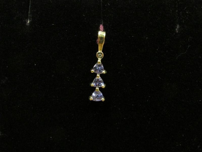 Synthetic Tanzanite Gold-Diamond & Stone Pendant .01 CT. 10K Yellow Gold 0.9g