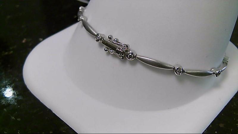 "7"" 10K White Gold Round Diamond Bracelet 5.1G"