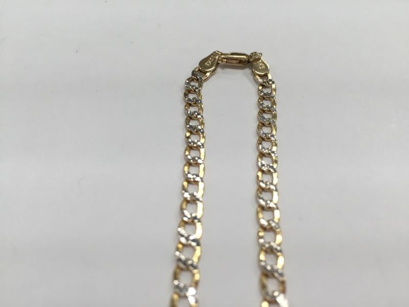 """22"""" Gold Curb Chain 10K 2 Tone Gold"""
