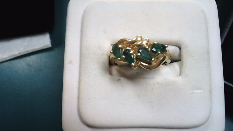 Green Stone Lady's Stone Ring 14K Yellow Gold 4.4g Size:8