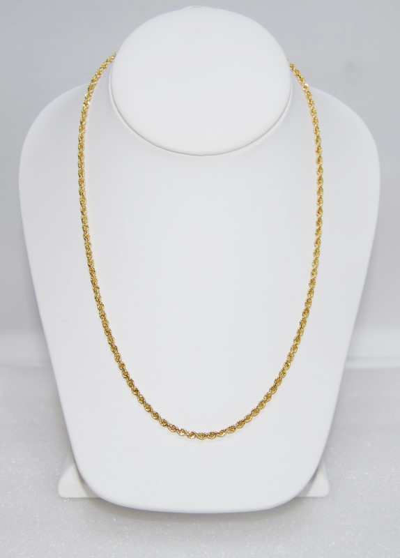 "18"" 14K Yellow Gold Rope Chain w/ Safety Clasp"