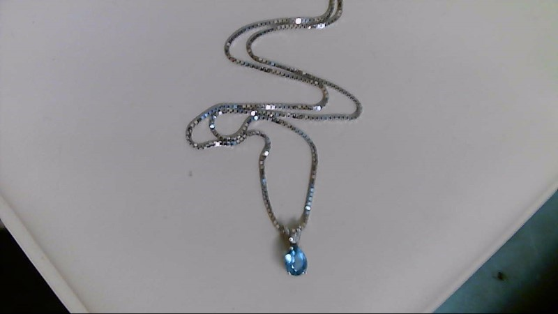 Synthetic Blue Topaz Diamond & Stone Necklace .01 CT. 14K White Gold 4.1g