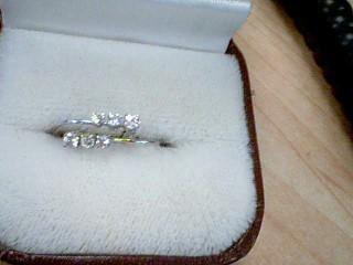 Gold-Diamond Earrings 6 Diamonds .12 Carat T.W. 14K White Gold 0.09g