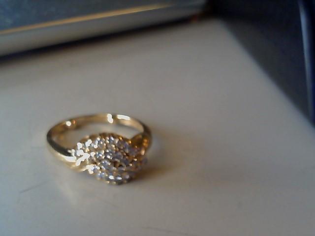 Synthetic Agate Lady's Stone & Diamond Ring 20 Diamonds .40 Carat T.W.